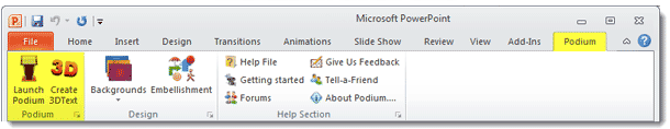 Podium Tab in Powerpoint